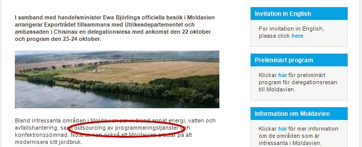 Skärmdump på mejl där Exportrådet bjuder in till resa till Moldavien